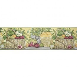 "Club Pack of 12 Rolls French Country Vegetables Wallpaper Border 9"" #HP70174B"