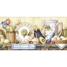 Wallpaper Blue Mountain Kitchen & Bath Resources Country Still Life Border CR061203B