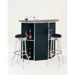 Black Bar Unit With Chrome Accents