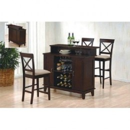 Contemporary Style Deep Cappuccino Finish Solid Wood Bar Unit w/Wine Rack