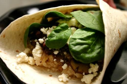 spinach feta mushroom burrito