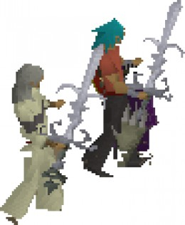 Two Runescape Players Dancing with Swords.