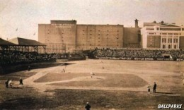 "The Huntington Avenue Grounds during a game. Note building from which the famous 1903 ""bird's-eye"" photo was taken."