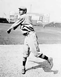 Ruth pitching for the Red Sox in 1914, at Comiskey Park in Chicago