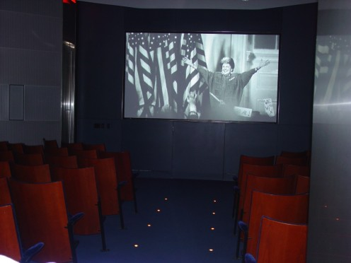 This is a photo of the Orientation Theater upstairs in the Clinton Presidential Library downtown Little Rock, AR