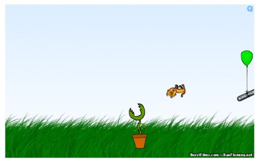 Hapless Fluffy soars over a man-eating plant.