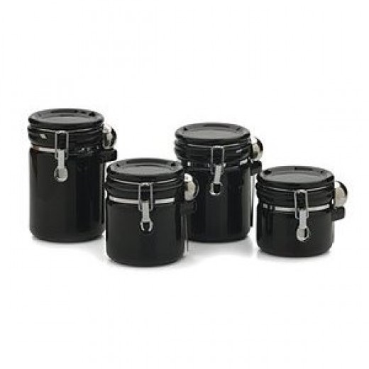 Round 4-pc. Canister Set - Black