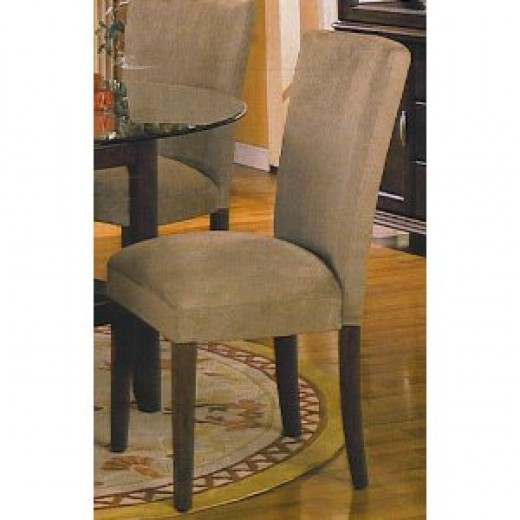 "4 ""new"" Parson Chairs With Cherry Legs & Microfiber Cover"