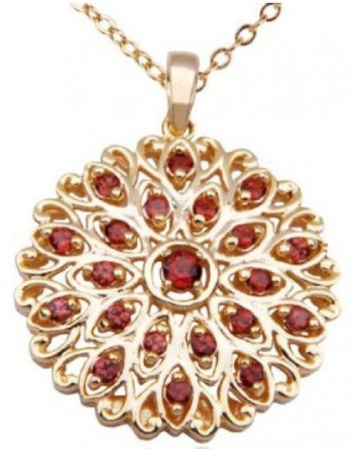"18k Yellow Gold Plated Sterling Silver Garnet Pendant, 18"" by Amazon.com Collection"