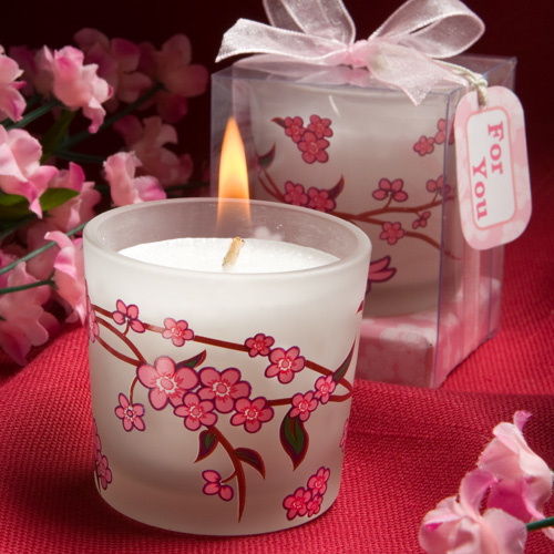 Cherry Blossom Wedding Candles