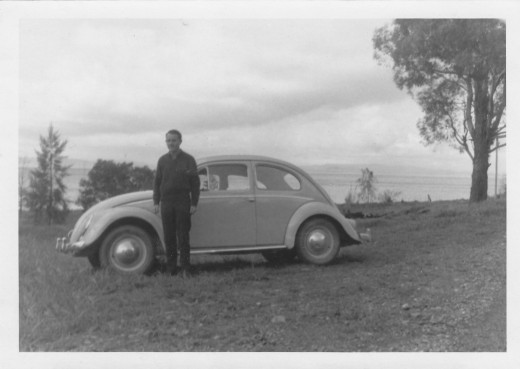 My old friend from the Navy and Dept. of Civil Aviation days. Our trip to the Snowy in Sept 1962.  That's my first car, a 1958 VW Beetle