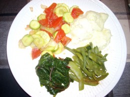 One of my evening meals.  I grew the green beans and the kale.  My sister-in-law grew the squash.