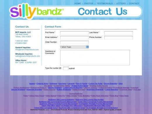 And the same on the contact page.