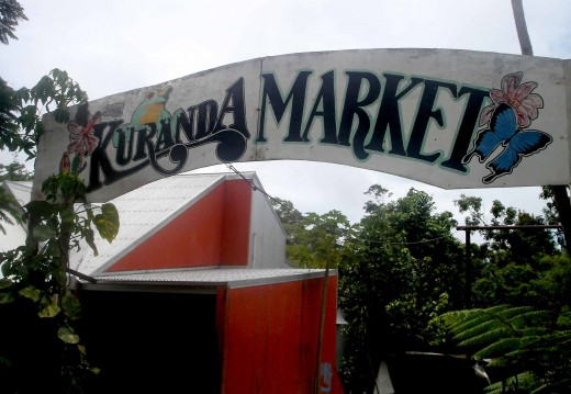 Entrance to the old Market, the sign mildewed by time and humidity