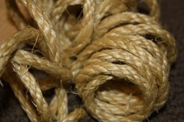Sisal rope is a natural fiber that is cheap and easy to work with