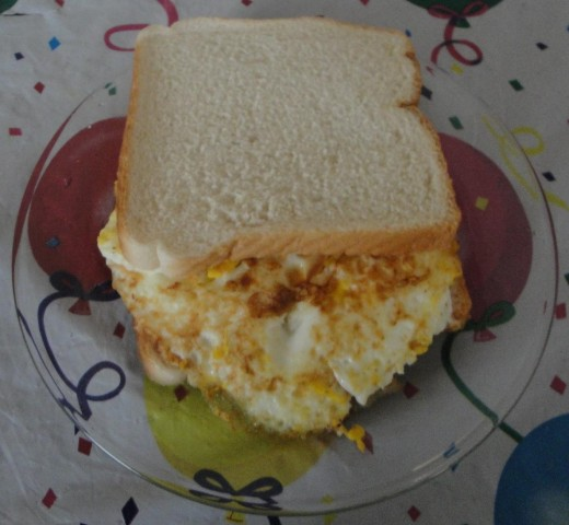 The Southern egg sandwich consists of bread, cheese, egg, mayonnaise and ketchup.