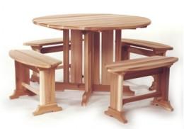 Round Picnic Table Set w/ Pedestal