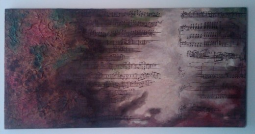 This music is from a beautiful classical piece called Scheherezade. The sound swam in my head so much that I painted a couple of pages from it.