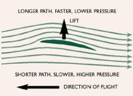 Different air speed above and below a wing or kite surface means lift.