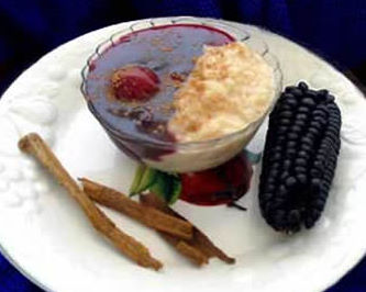 Purple pudding (Mazamorra Morrada) and rice with milk (arroz con leche).