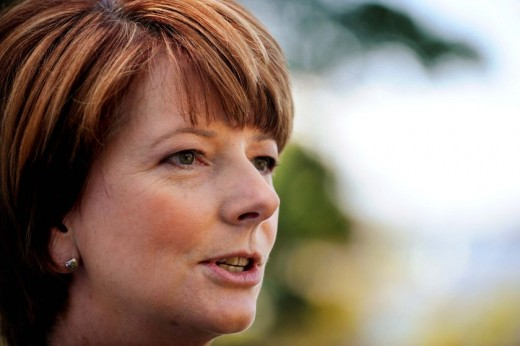 In this photo you can see that Julia Gillard has multiple piercings - with room for lots more!