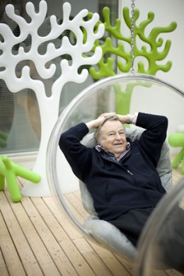 Eero Aarnio In His Famous Hanging Bubble Chair