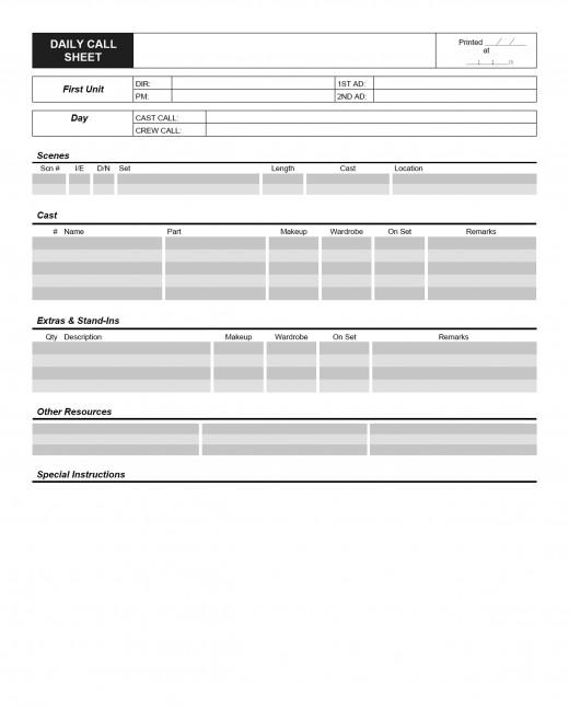 Sample Call Sheet Using Call Sheets To Enhance Your Production