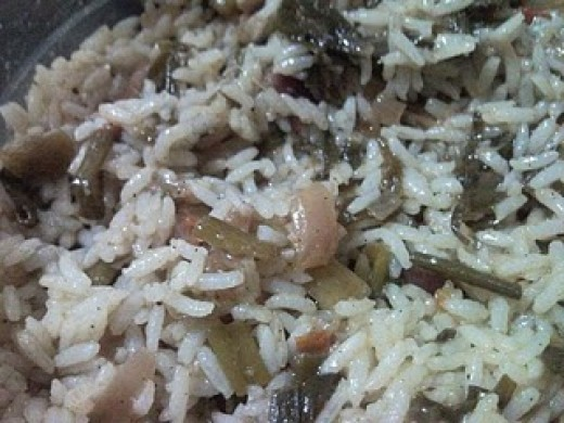 Spring Onion Rice - Ingredients and Method of Preparation of Green Onion Rice