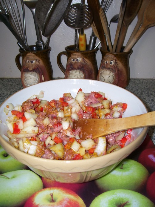 Mince, onion, diced peppers, with herbs and spices to taste.