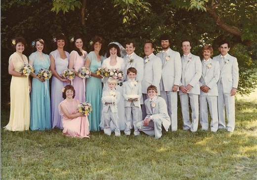 1982 - the year of the rainbow pastel bridesmaids!
