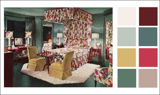 Interior decorating boards like this 1946 bedroom designed by Armstrong Cork Co. are a great source of unique color palette ideas.