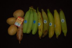 From left to right,potatoes,Yucca root,green bananas and green plantains.