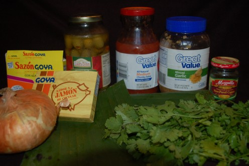 A few of the ingredients and fresh cilantro.