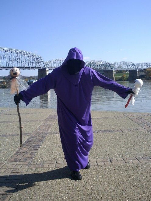 Greg really gets into character when he does his Cheesy Raps. Here he becomes the Ghost character while filming along Cincinnati's Ohio Riverfront.