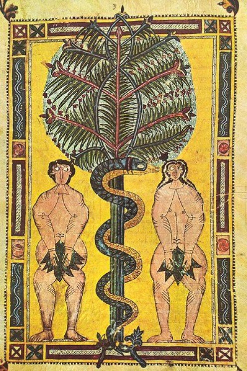 Adam, Eve and the Serpent from the 10th Century 'Escorial Beatus'.