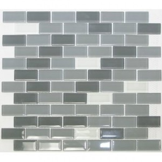 Glass Mosaic Tile Subway offset Winter Mist