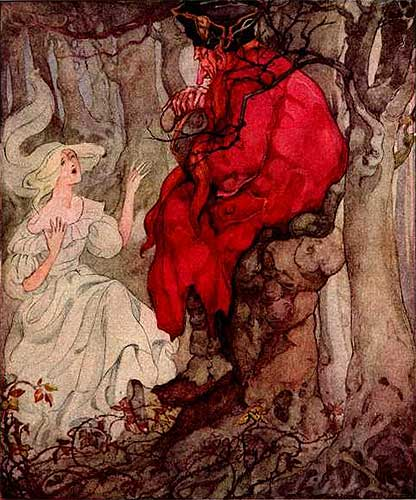 This circa 1920s illustration of Andersen's Red Shoes reflects the dark and ominous tones of the original story. Depicted here, Karen has an interview with the executioner.