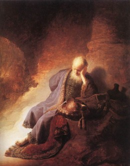 Rembrandt: Jeremiah (It could also picture Jehoiachin in a Babylonian Prison.)