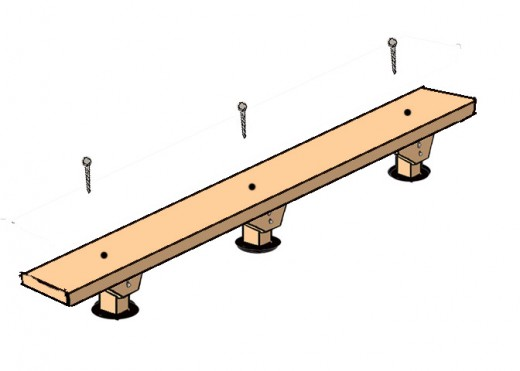 Drill a hole through the plank into the end of each post and screw a lag screw and washer into each hole.