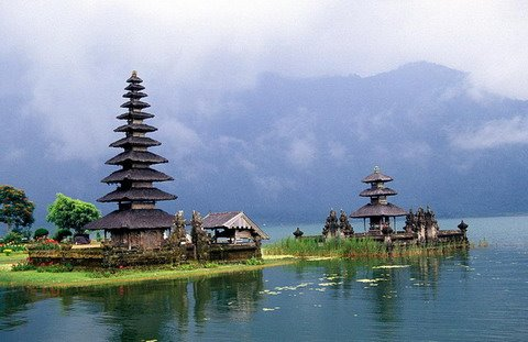 One of the great tourism destination in Indonesia, the sacred temple of Pura Ulun Danu at Bedugul Lake, Bali Island.