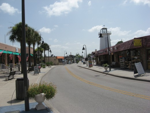 The main street through the sponge docks includes numerous Tarpon Springs restaurants. .