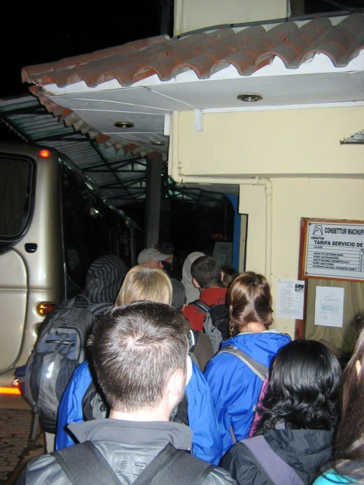 The line to catch the bus to Machu Picchu at 4:30am.