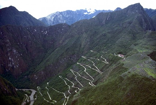 The road the bus takes up the mountain to Machu Picchu.