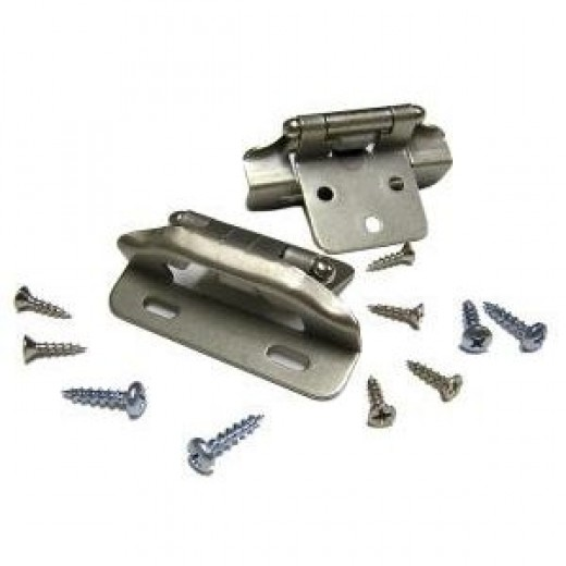 """Semi-Concealed Cabinet Hinge, 1/4"""" Overlay, Partial Wrap, Satin Nickel."""