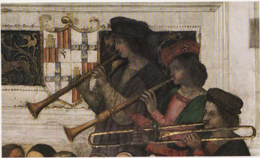 Detail from Pinturicchio's Coronation of Pius III, 1503. The painting, depicting a wind band similar to what trombonist Tiberio Rivolti performed with in Siena, is a fresco located at the exterior of the Piccolomini Library at the Siena cathedral.