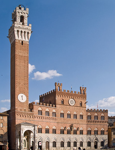 Siena's Palazzo Pubblico, where Tiberio Rivolti is employed as trombonist with the Palace wind band.