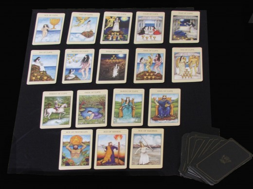 The minor Arcana as shown here in the suit of Cups, including beneath, the aces from the other three suits