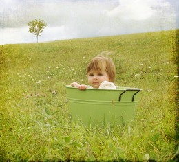 Baby photo with beautiful scenery, image by Charlotte Morrall