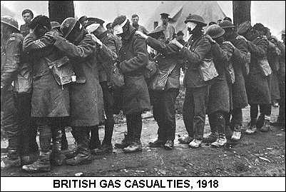 This circa 1918 British war photo is of a gas attack over the trenches.