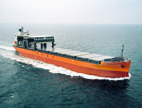 IT IS A GENERAL CARGO SHIP WITH GANTRY CRANE